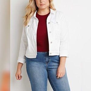 Forever 21 White Denim Jacket 2X